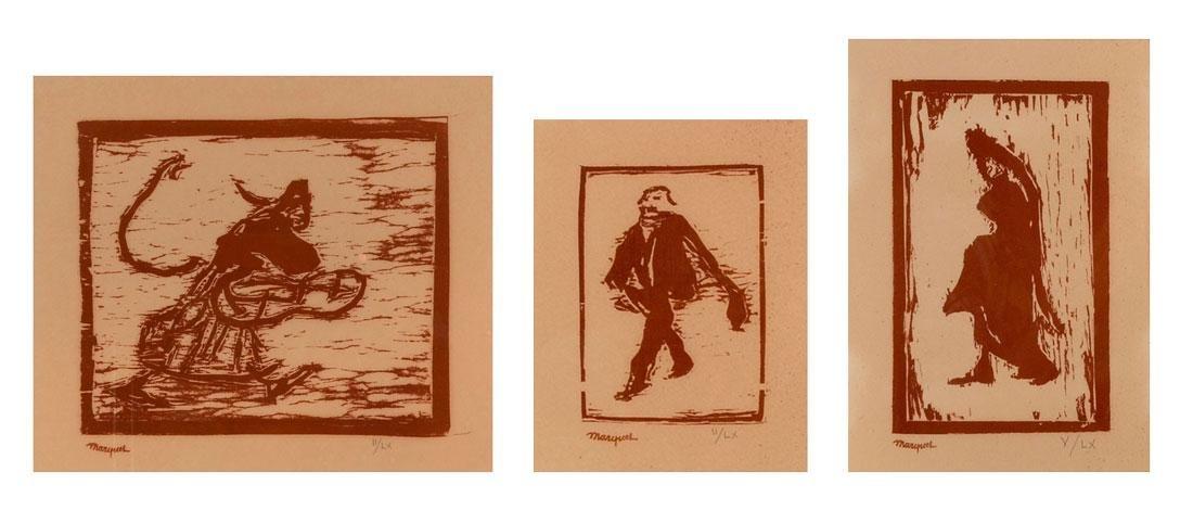 THREE PIECE ALBERT MARQUET WOODCUTS