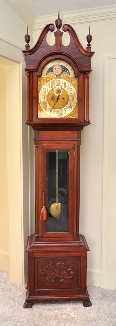 MAHOGANY TALLCASE CLOCK WITH MOONPHASE DIAL