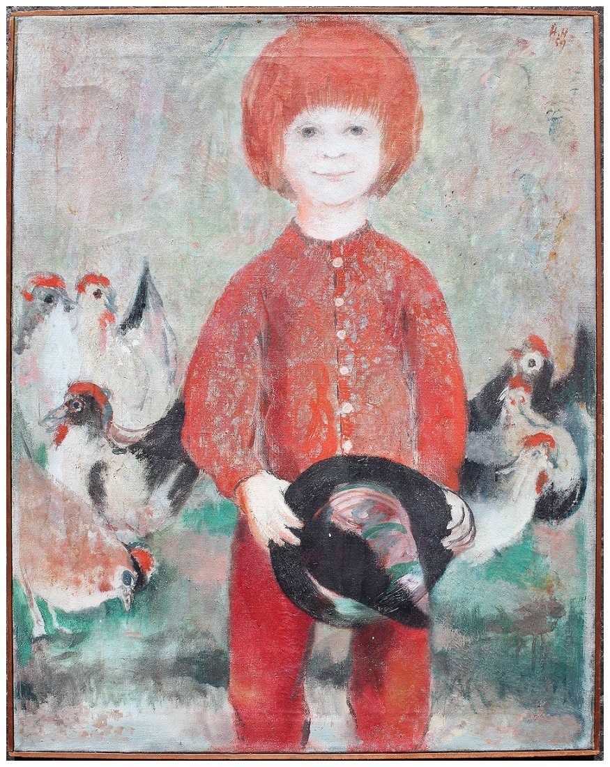 HELMUT HOFFMAN CHILD WITH CHICKENS PAINTING