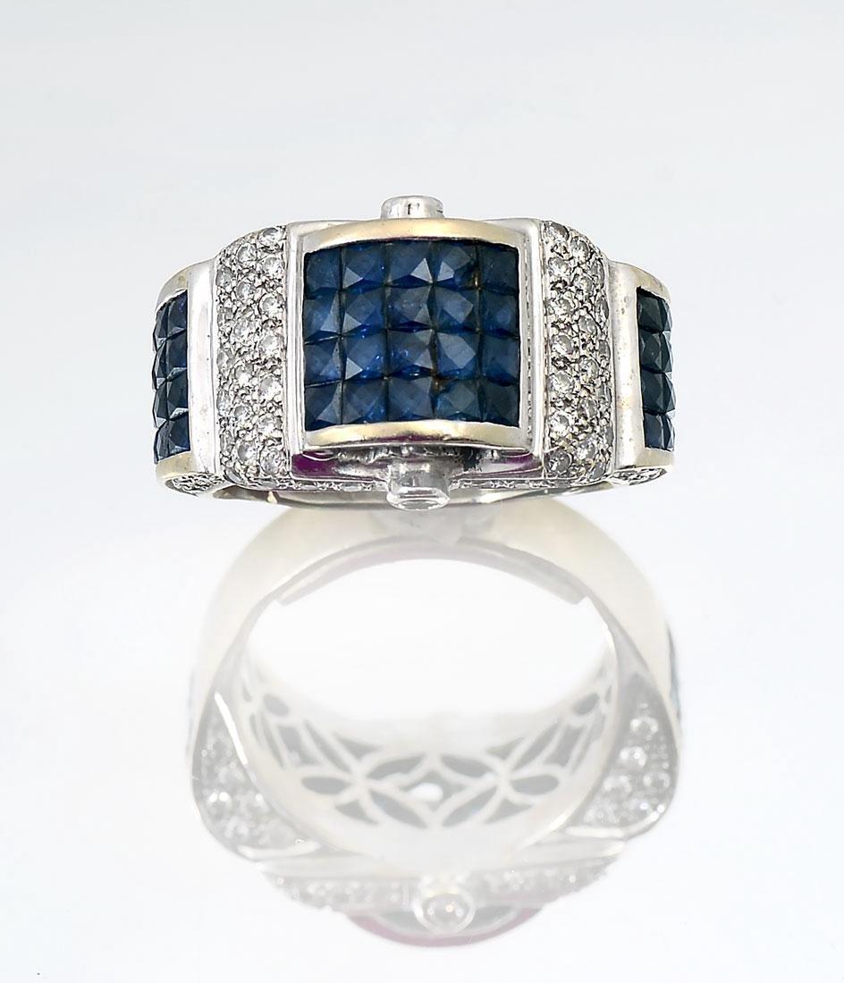 18K DIAMOND & SAPPHIRE RING