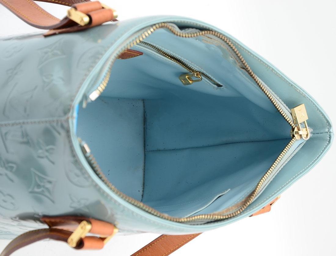 LOUIS VUITTON VERNIS HOUSTON BABY BLUE TOTE BAG - 3