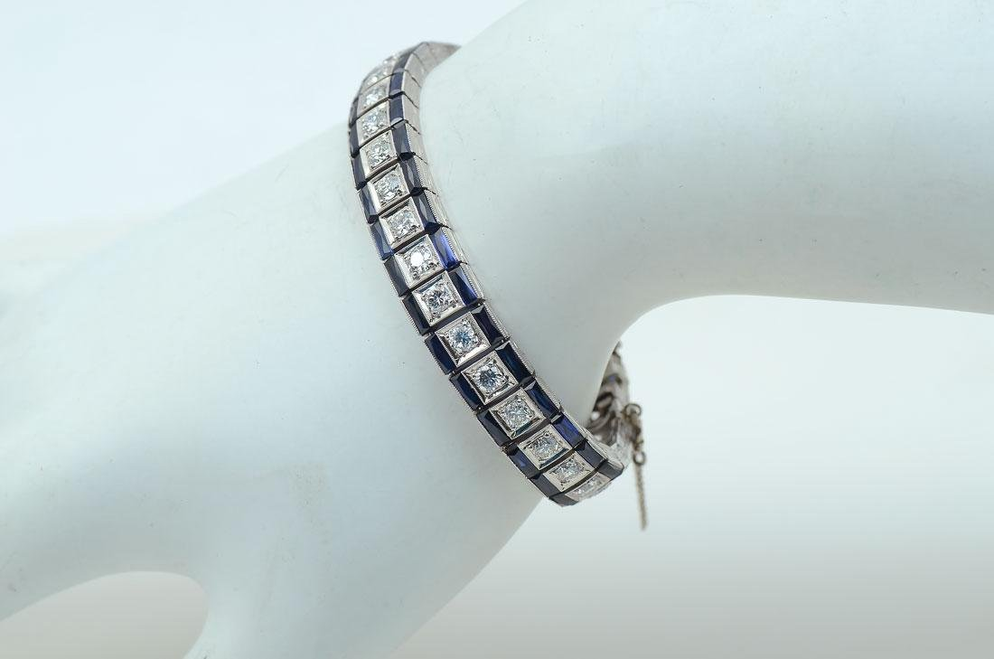 PLATINUM 16 CTW DIAMOND & SAPPHIRE ART DECO BRACEL
