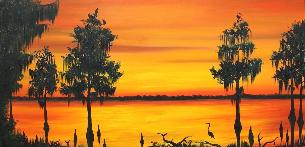 WILLIE REAGAN FLORIDA HIGHWAYMEN SUNSET PAINTING