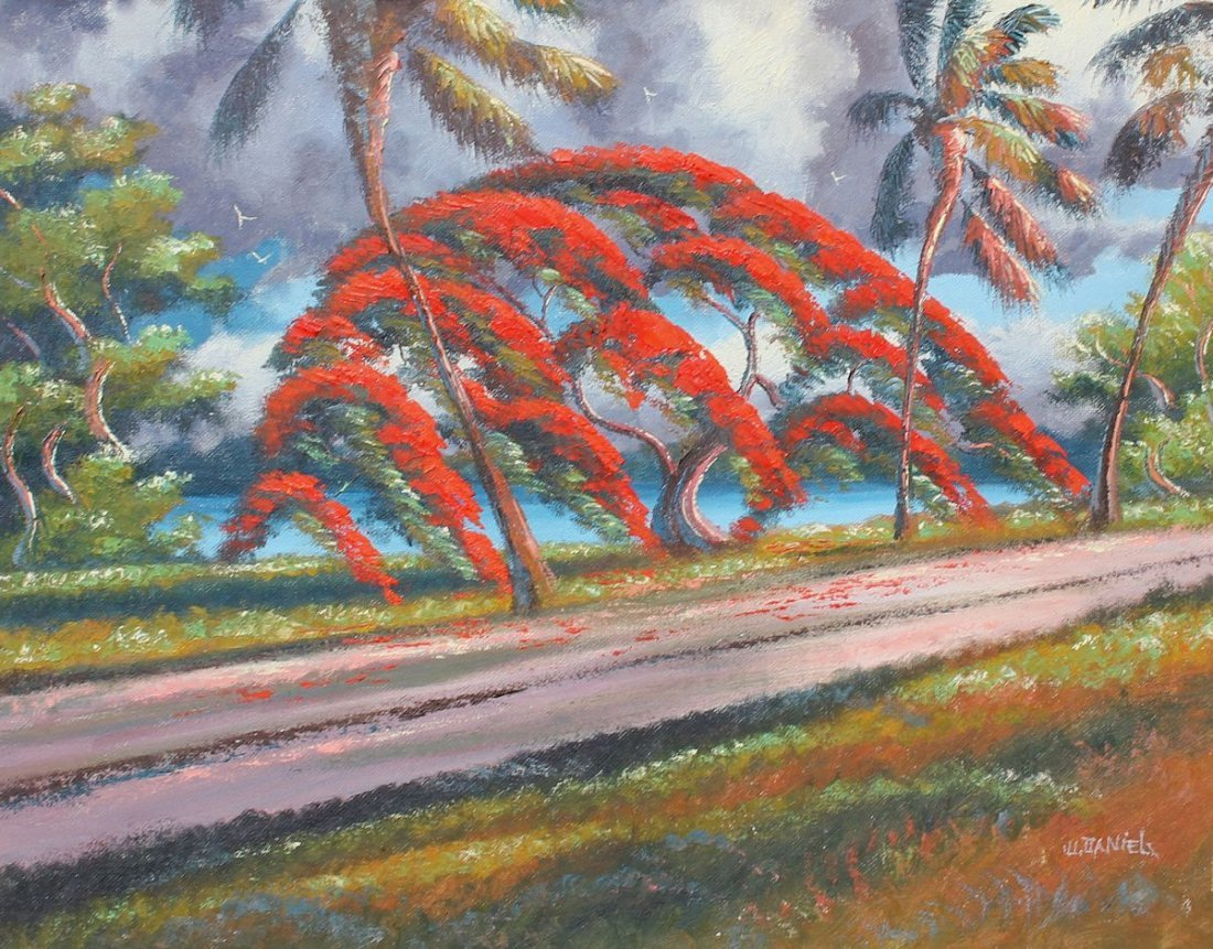 WILLIE DANIELS HIGHWAYMEN POINCIANA PAINTING