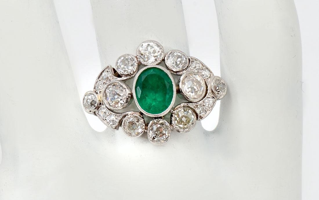 PLATINUM EDWARDIAN EMERALD & DIAMOND RING