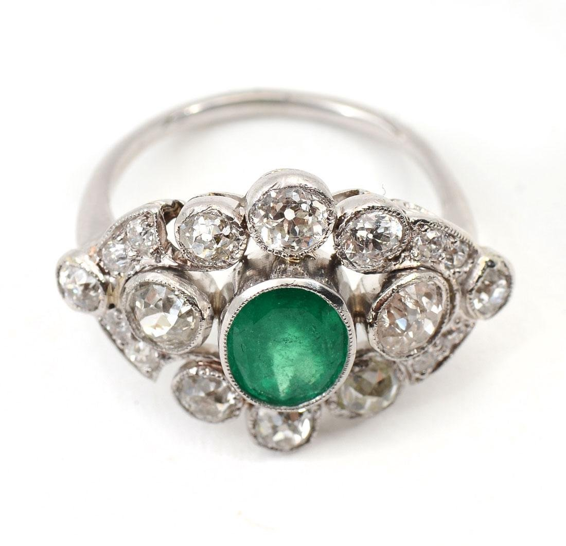 PLATINUM EDWARDIAN EMERALD & DIAMOND RING - 3