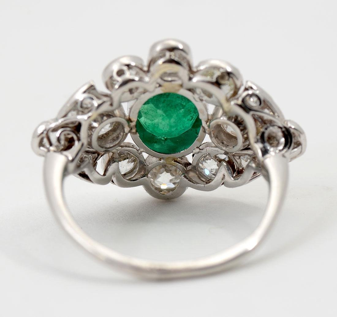 PLATINUM EDWARDIAN EMERALD & DIAMOND RING - 4