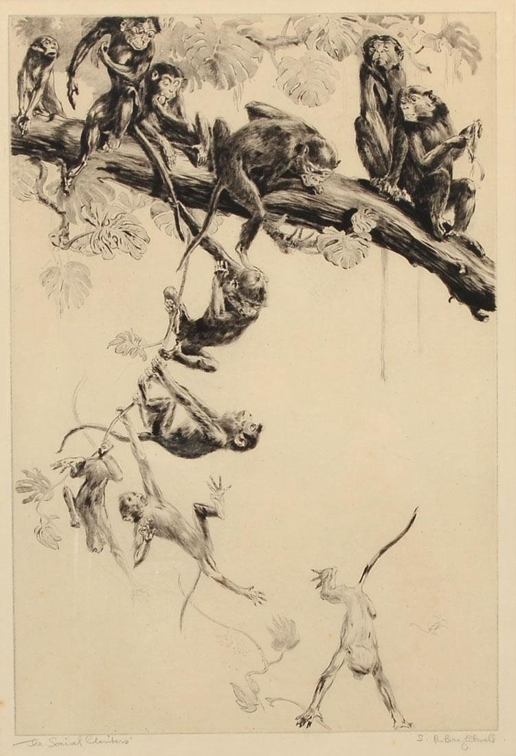 """BRIGHTWELL ETCHING """"THE SOCIAL CLIMBERS"""""""