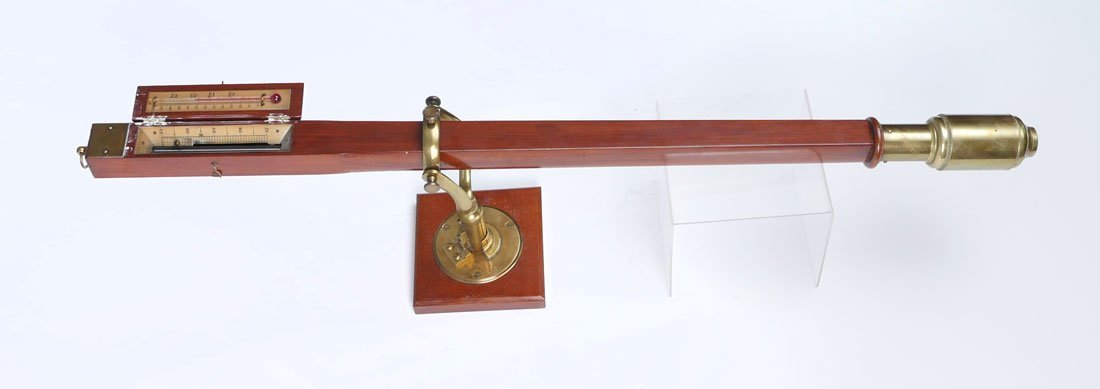 WOOD AND BRASS GIMBLED SHIPS BAROMETER