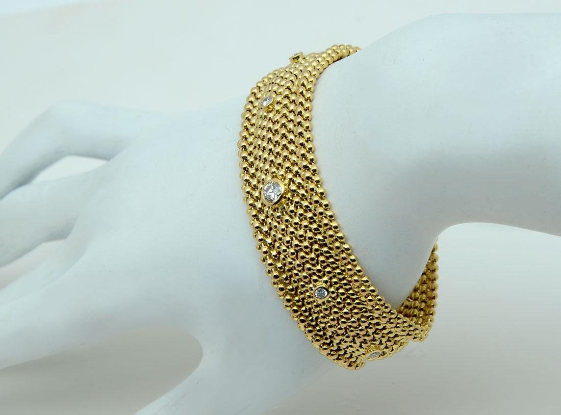 18K & DIAMOND WIDE FLEX/MESH BRACELET: