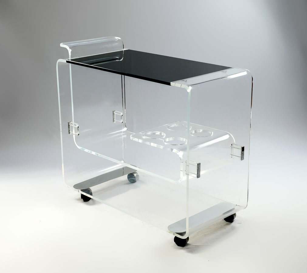 MODERN LUCITE BAR CART ON CASTORS