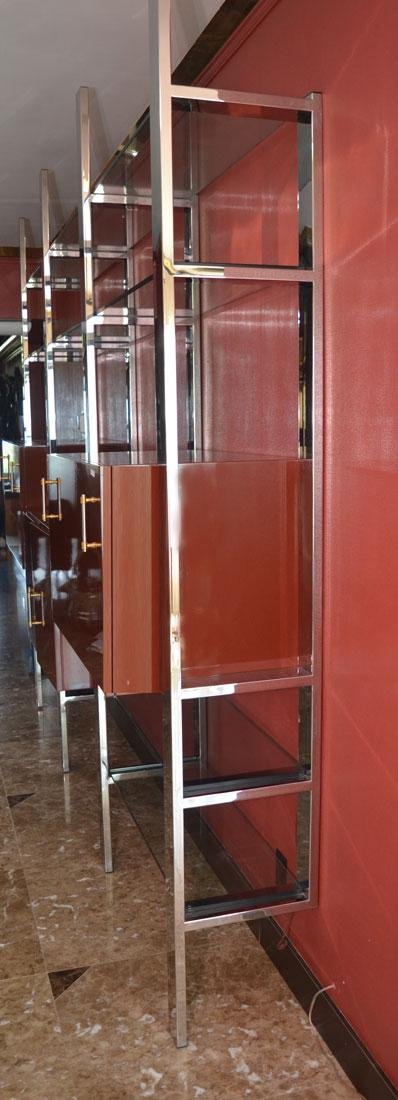 MODERNE CHROME AND GLASS WALL UNIT - 2