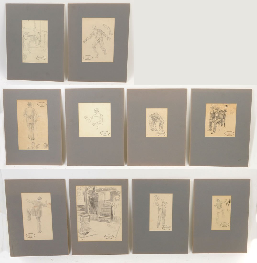 COLLECTION OF 12 PENCIL DRAWINGS