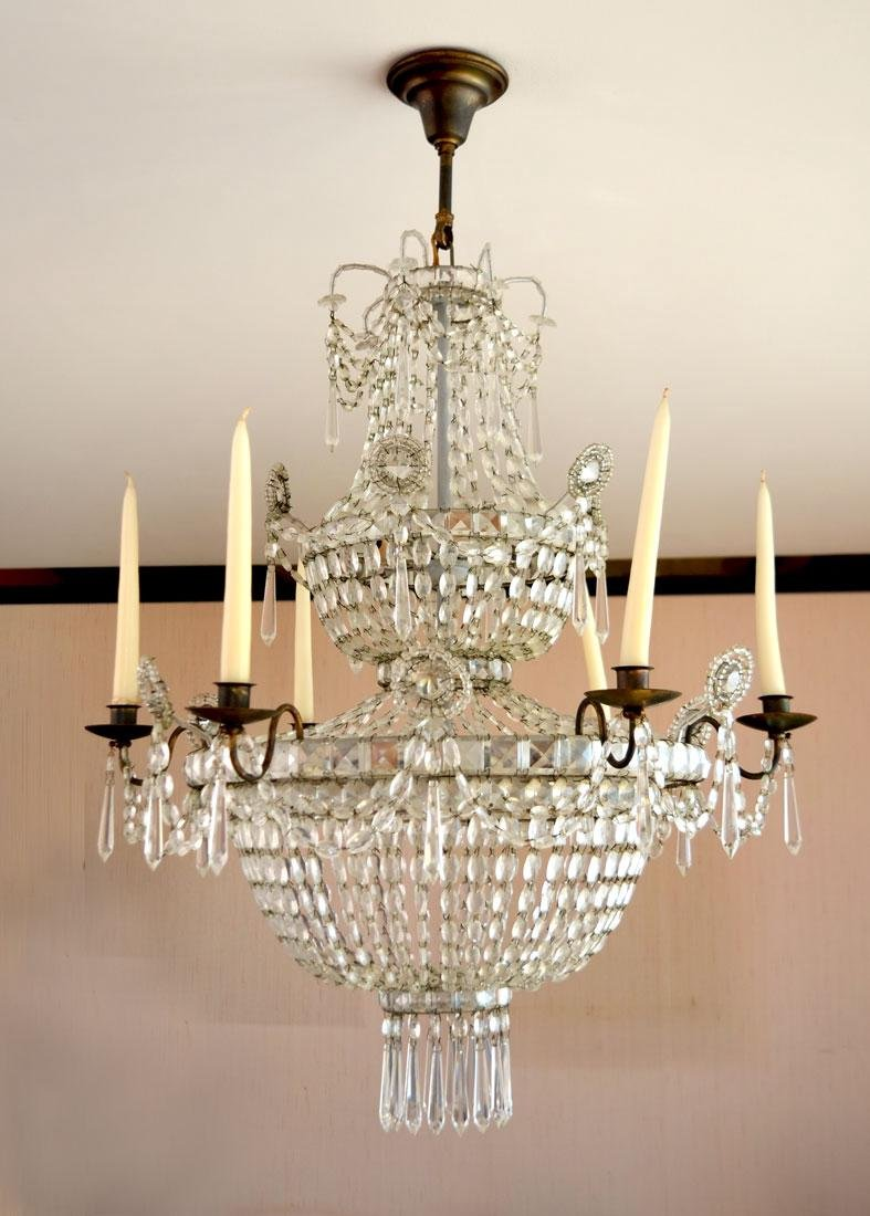 ELEGANT 2 TIER 9 LIGHT CRYSTAL CHANDELIER