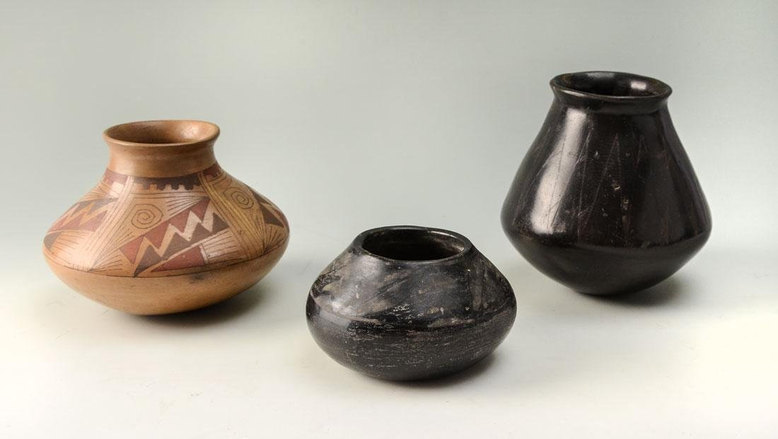 3 PIECES OF SAN ILDEFONSO AND ACOMA POTTERY