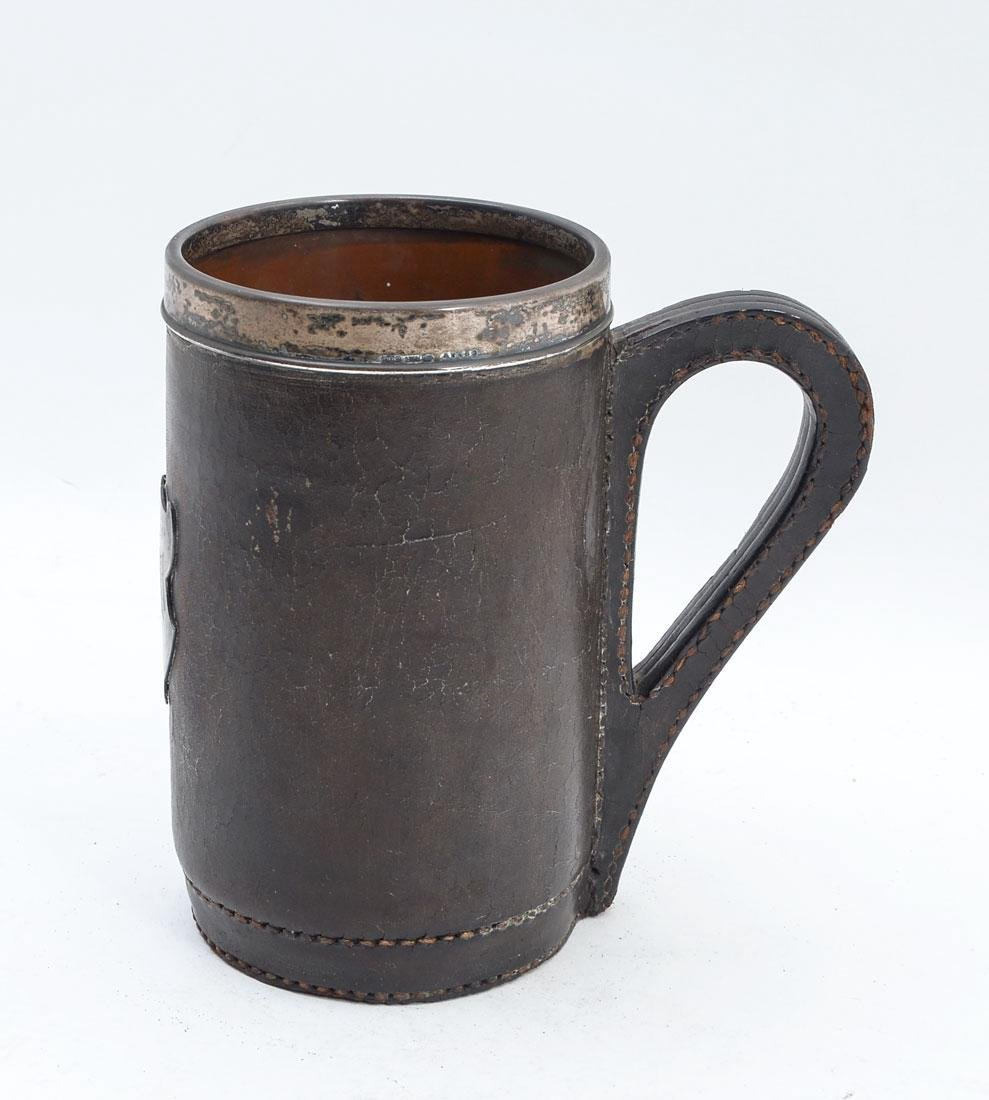 GORHAM STERLING MOUNTED LEATHER TANKARD
