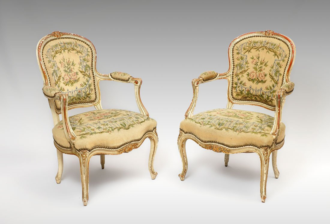 PAIR 19TH CENTURY FRENCH FAUTEUIL ARMCHAIRS