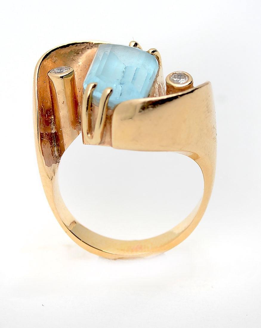 14K TOPAZ & DIAMOND RING - 2