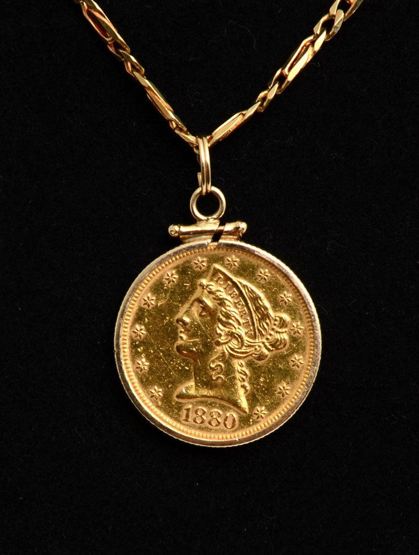 1880 US HALF EAGLE $5 GOLD COIN ON 18K CHAIN