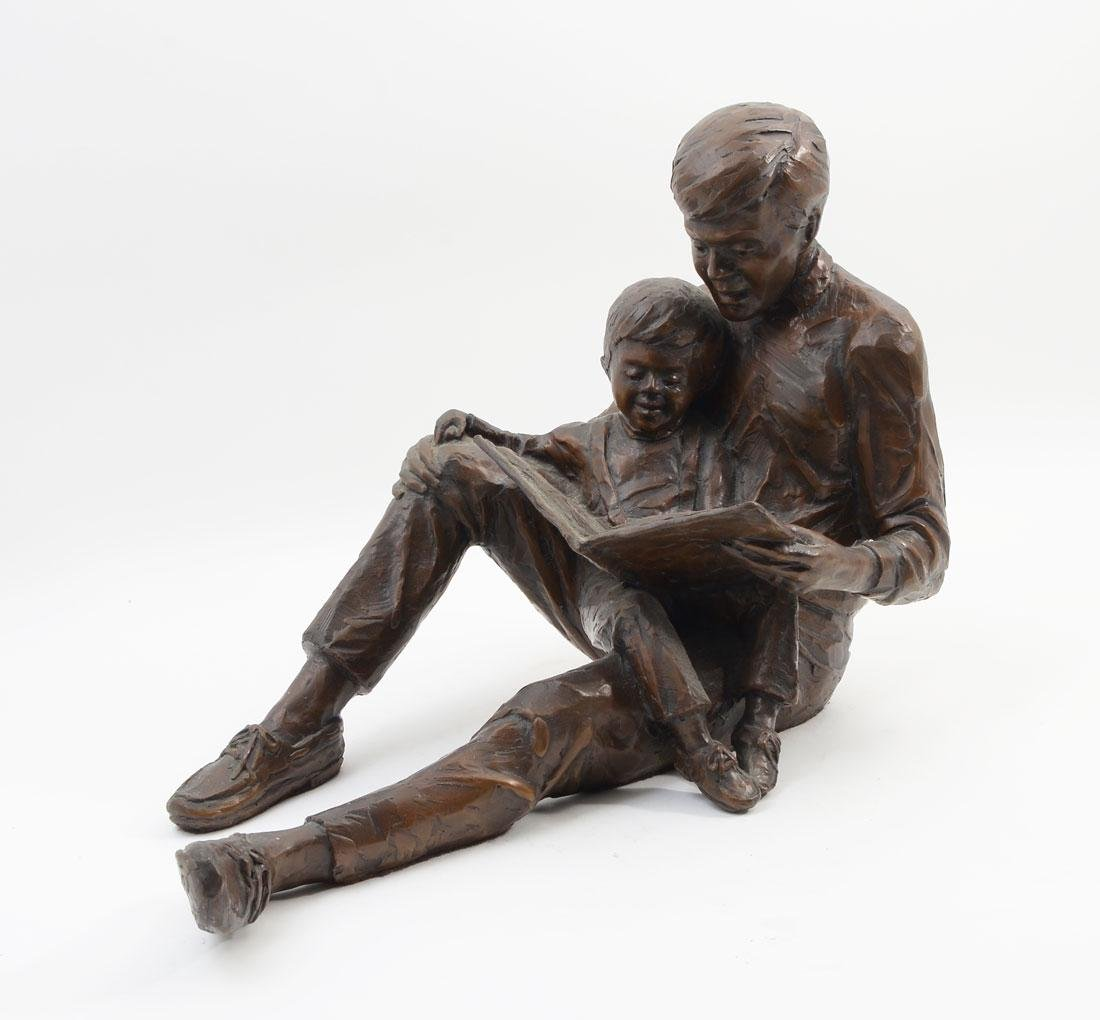 GARY PRICE BRONZE FATHER AND SON READING A BOOK