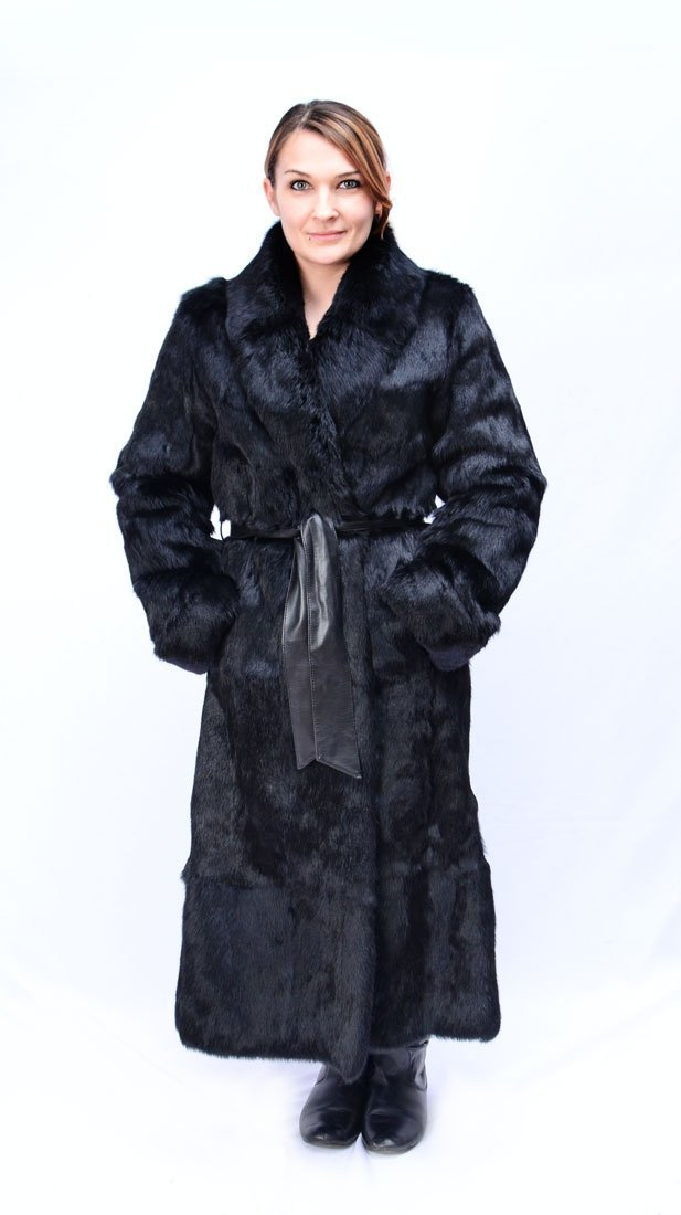 FULL LENGTH BLACK RABBIT FUR COAT