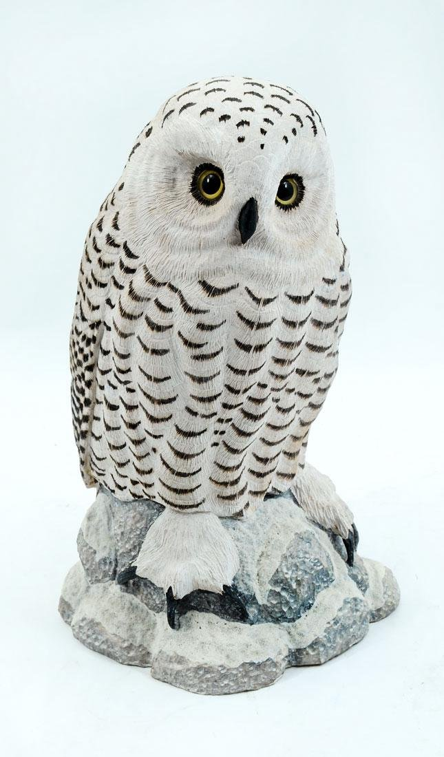 JACK FREEMAN SNOWY OWL WOOD CARVING