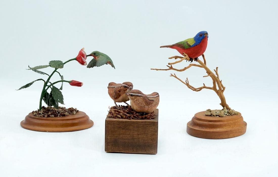 3 JACK FREEMAN WOODEN BIRD CARVINGS