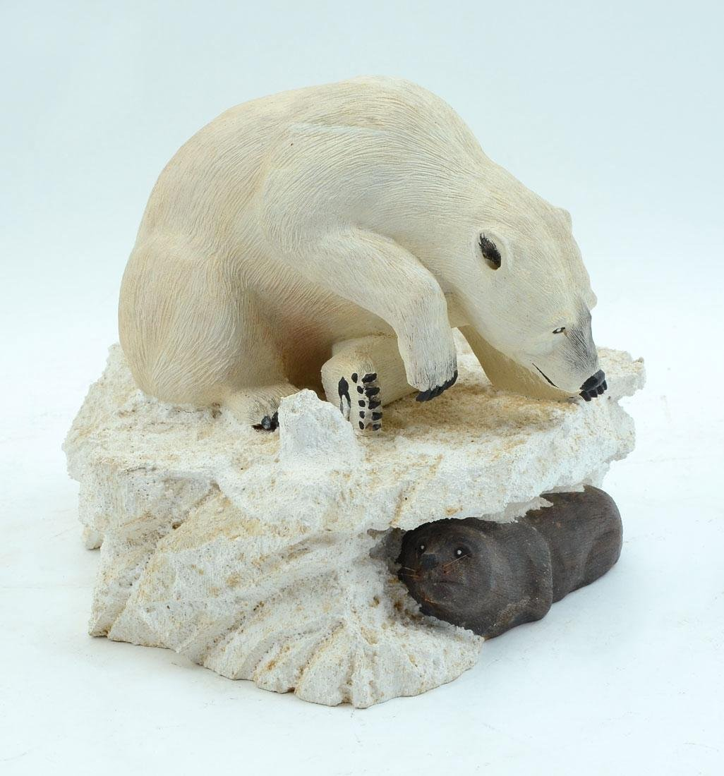 JACK FREEMAN POLAR BEAR WOOD CARVING