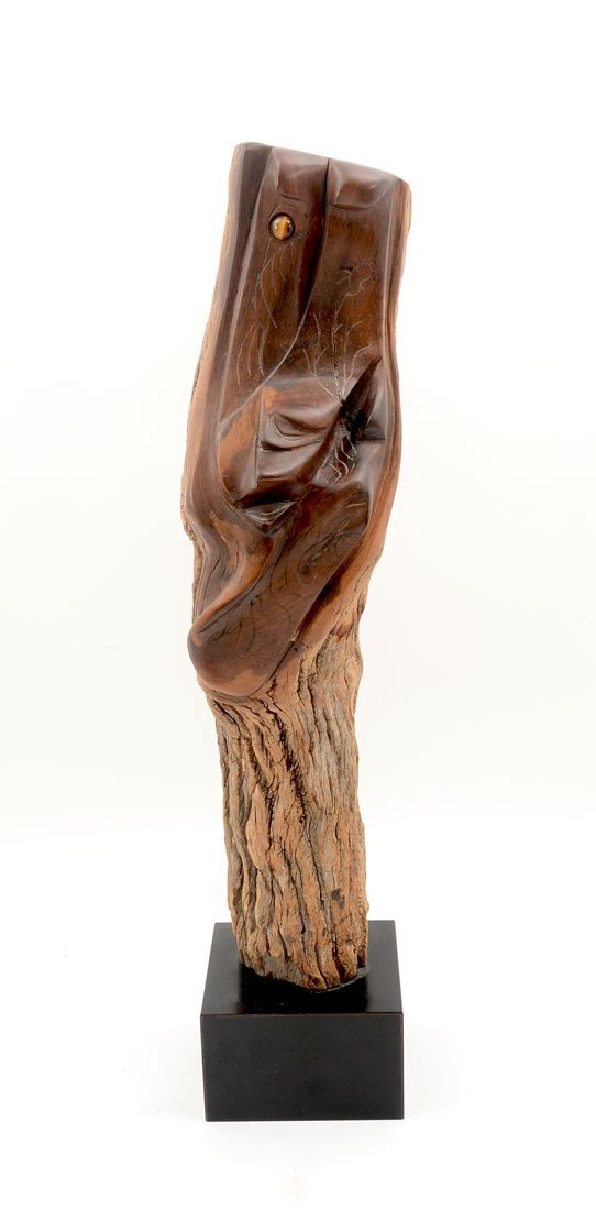 WILLIAM KATZ CARVED WOOD FISH SCULPTURE