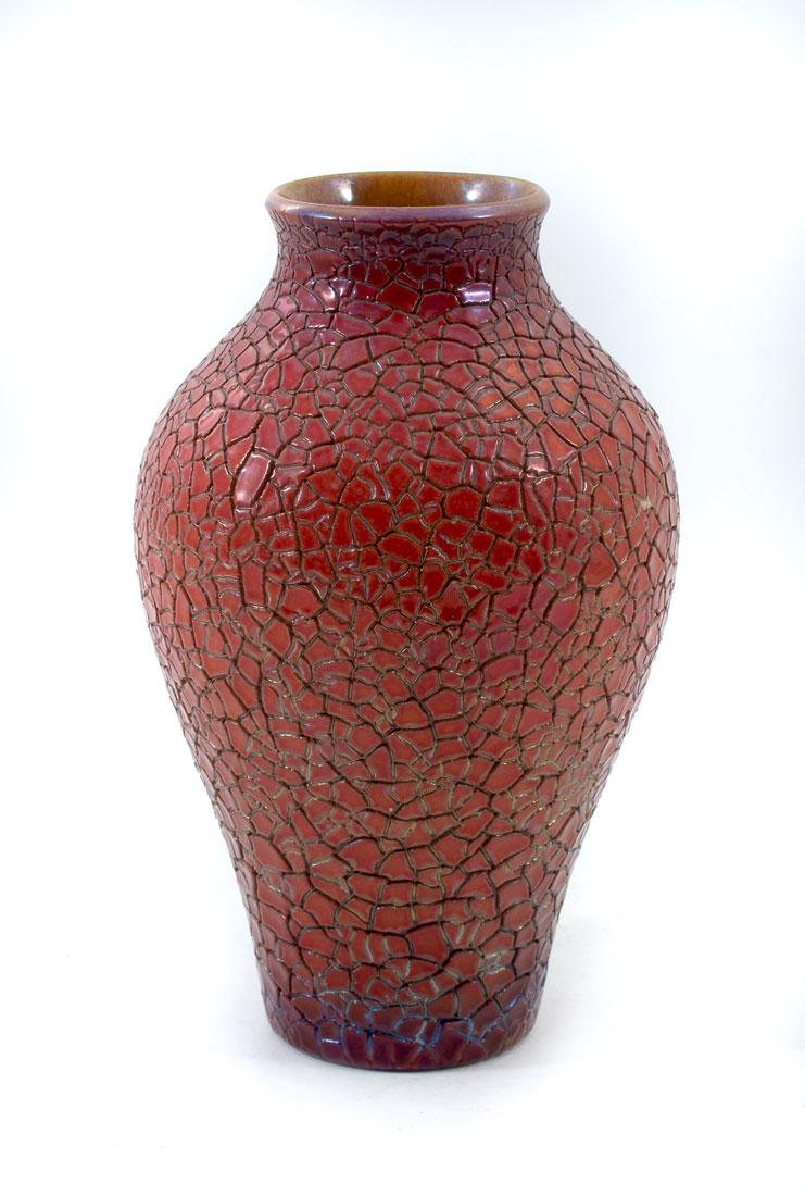 ZSLONAY CRACKLE GLAZE ART POTTERY VASE