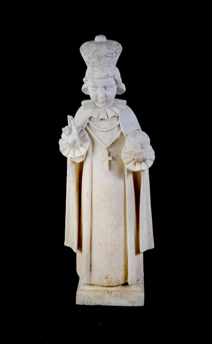 MARBLE FIGURAL PRIEST OR BISHOP SCULPTURE