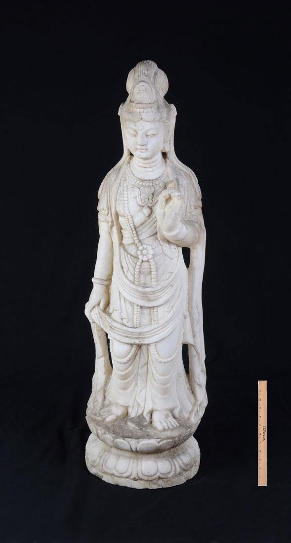 MARBLE FIGURAL GUANYIN SCULPTURE