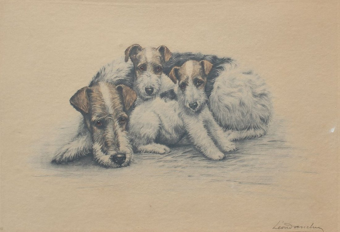 LEON DANCHIN TERRIER FAMILY ETCHING