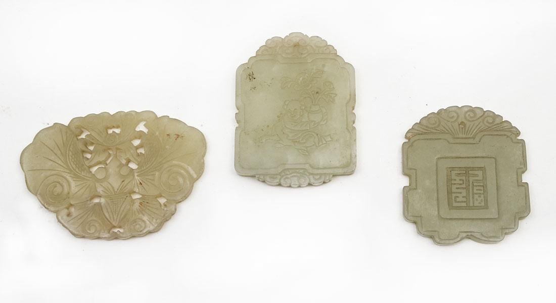 3 CHINESE CARVED JADE PENDANTS