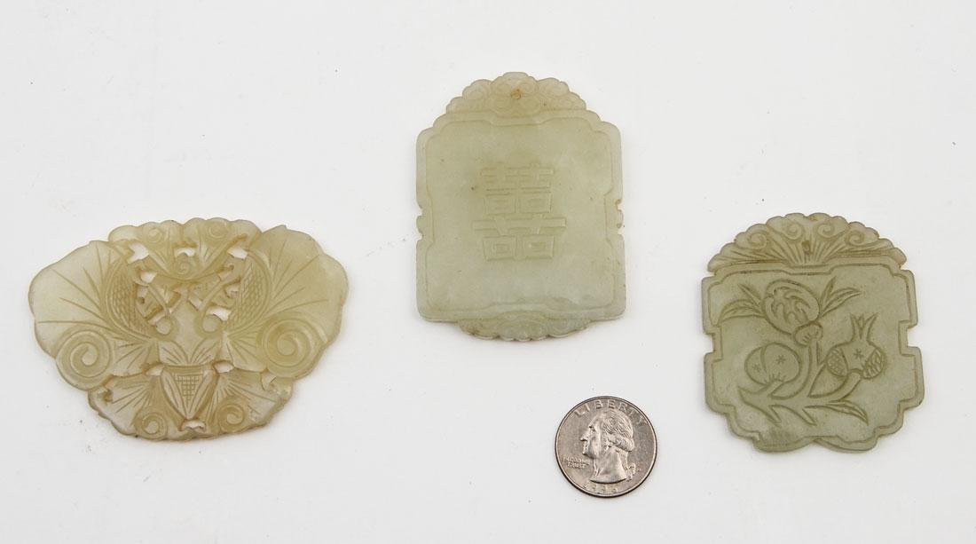 3 CHINESE CARVED JADE PENDANTS - 2