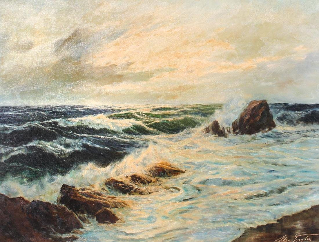 "EDGAR FREYBERG ""CRASHING SURF COASTAL PAINTING"""