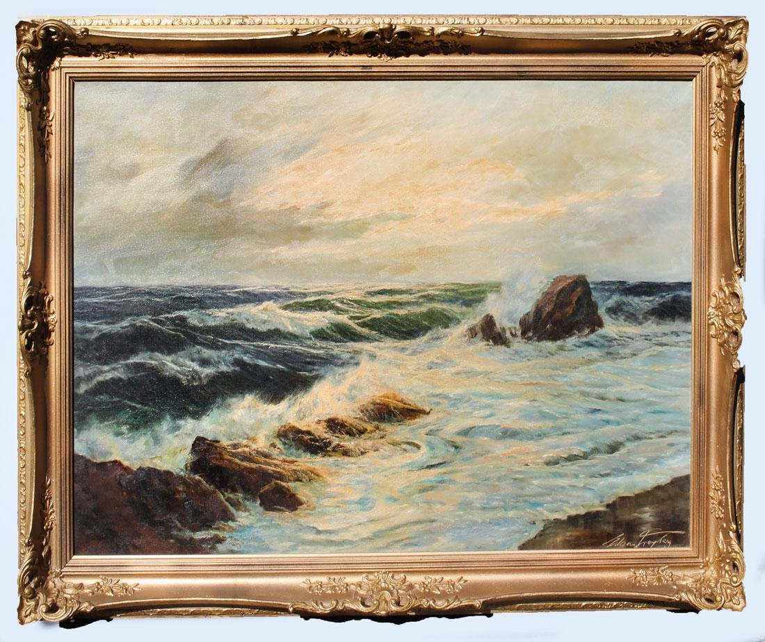 "EDGAR FREYBERG ""CRASHING SURF COASTAL PAINTING"" - 2"