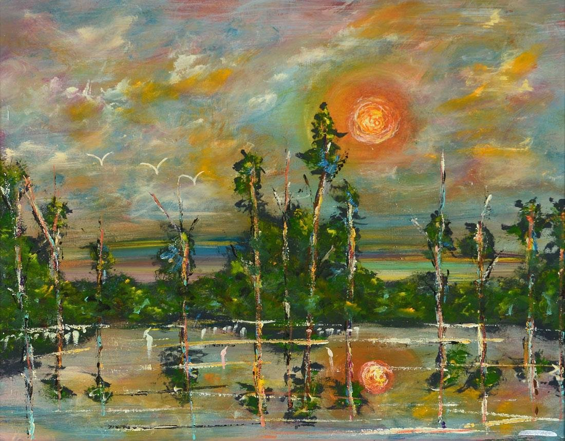 MICHAEL SEARS SUNRISE IN FLORIDA PAINTING