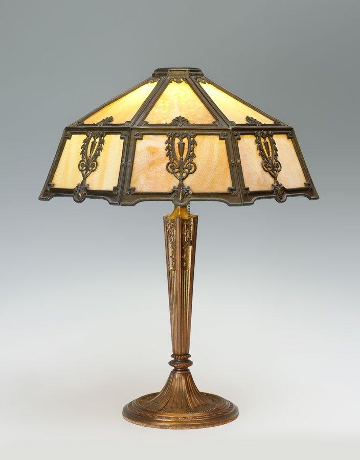 CARAMEL SLAG GLASS TABLE LAMP