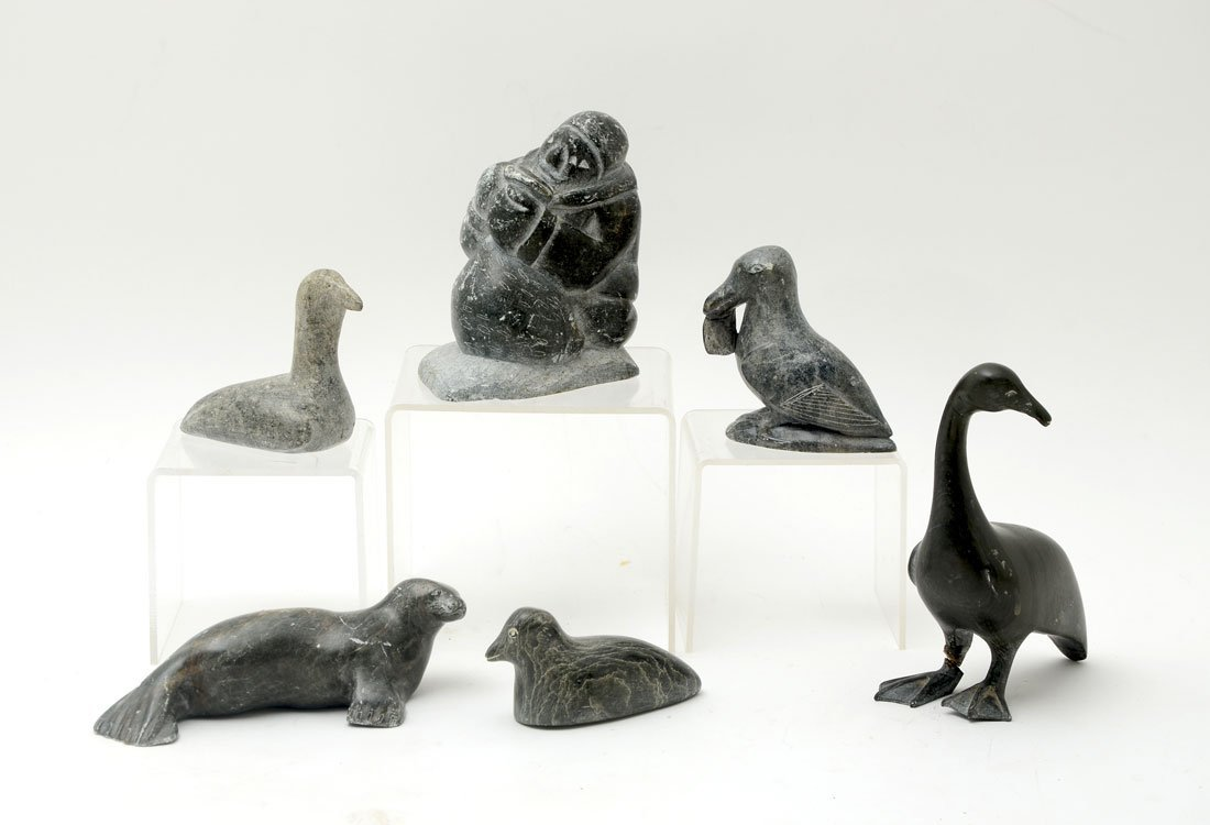 6 INUIT CANADIAN CARVED SOAPSTONE FIGURES
