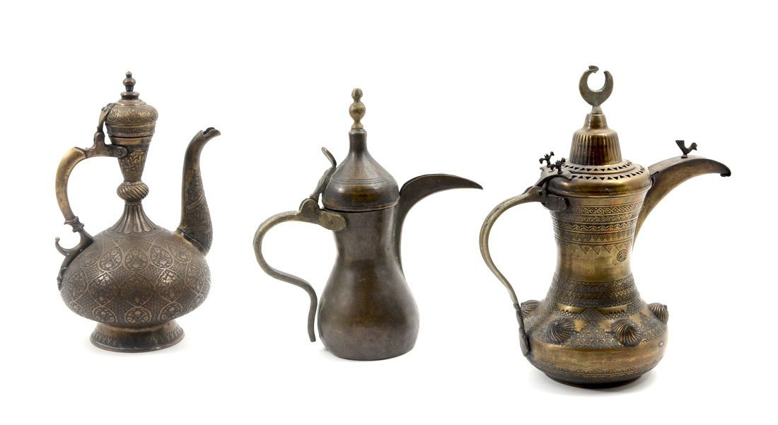 3 PERSIAN COPPER DALLAH COFFEE POTS
