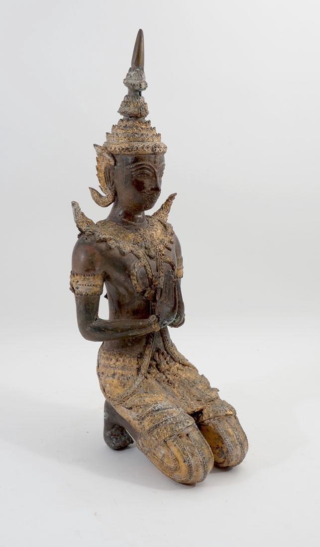 THAI BRONZE KNEELING BUDDHA