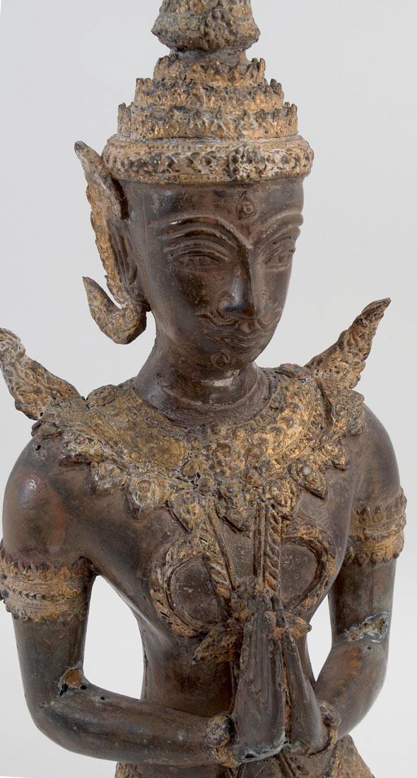 THAI BRONZE KNEELING BUDDHA - 2