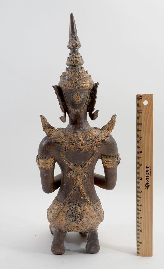 THAI BRONZE KNEELING BUDDHA - 3