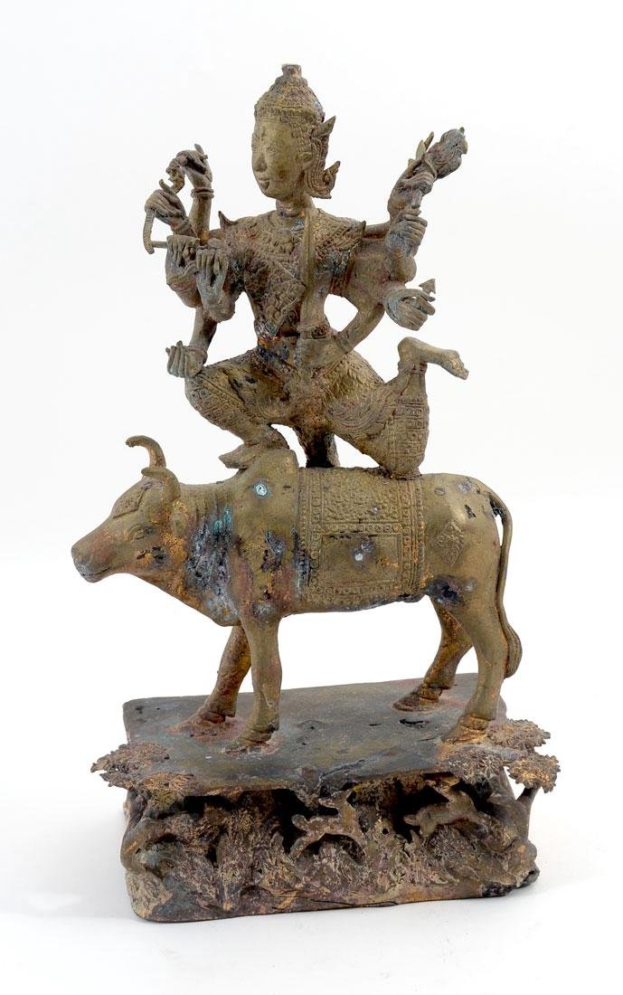 THAI CAST BRASS FIGURE OF DURGA ATOP A BUFFALO