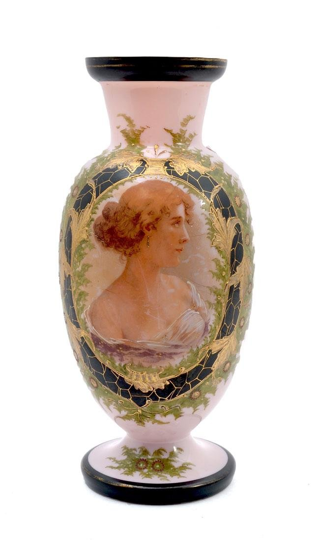 CONTINENTAL PINK GLASS PORTRAIT VASE