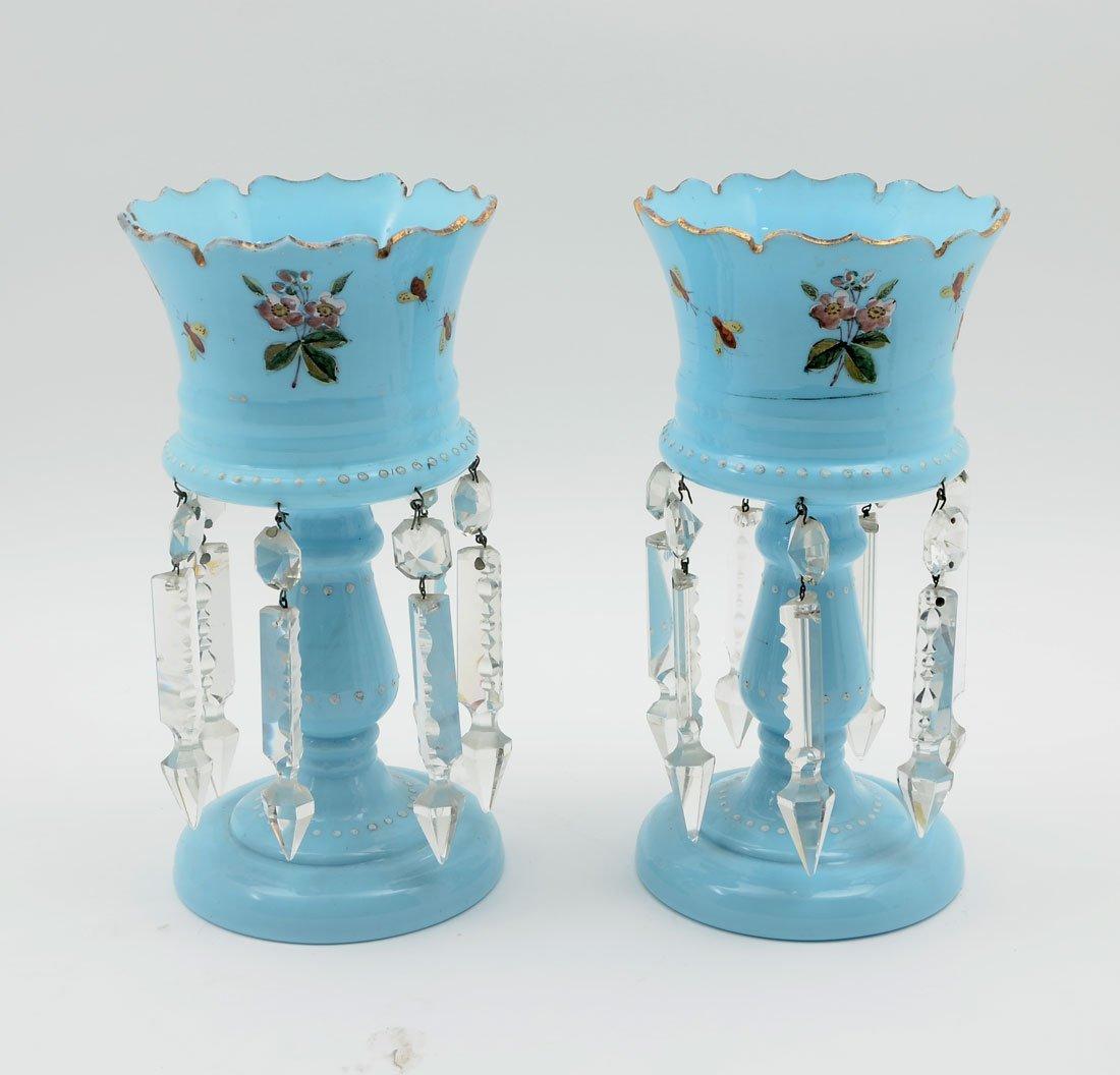 PAIR BOHEMIAN BLUE GLASS LUSTERS
