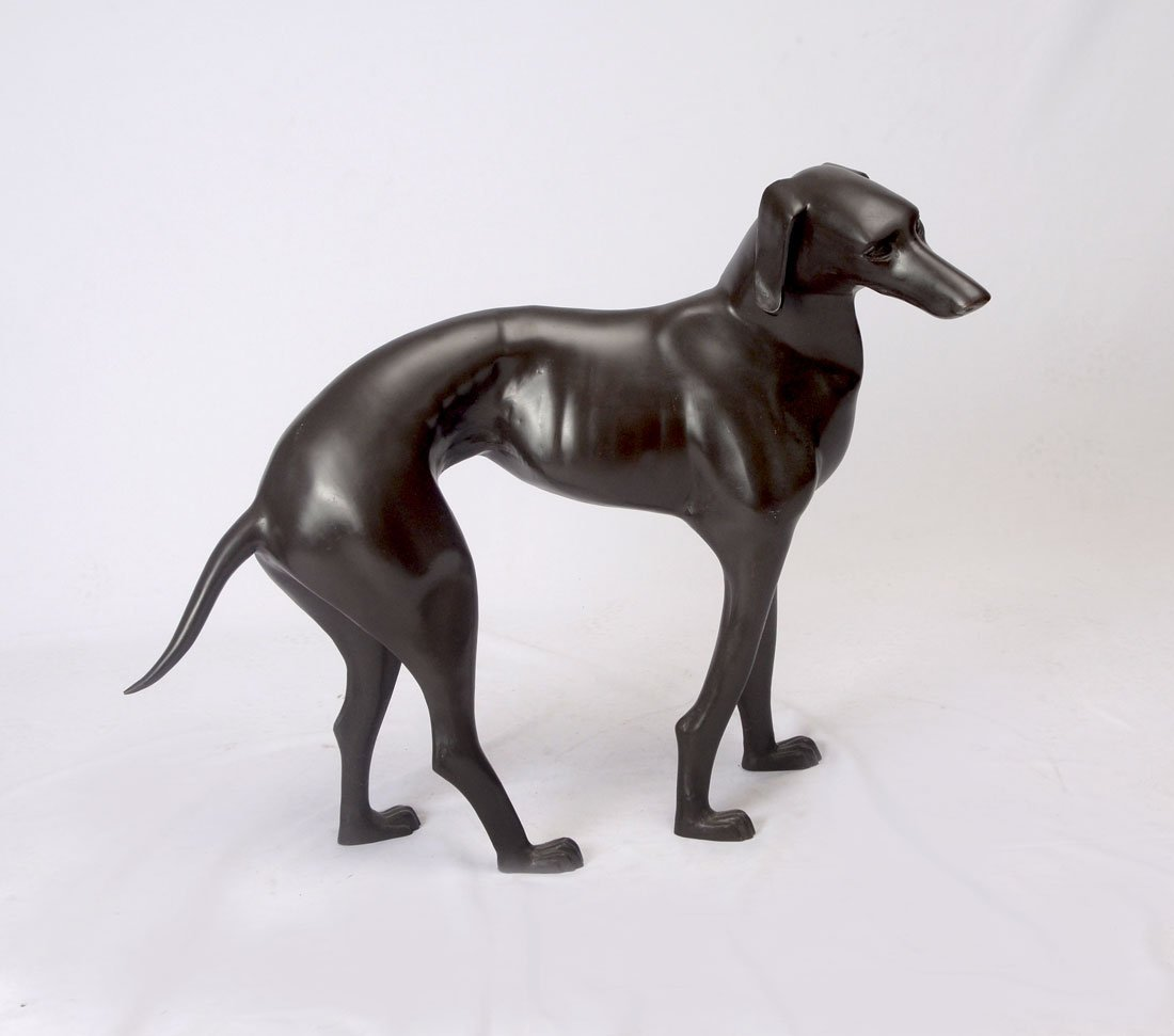 LARGE CONTEMPORARY CAST BRONZE WHIPPET