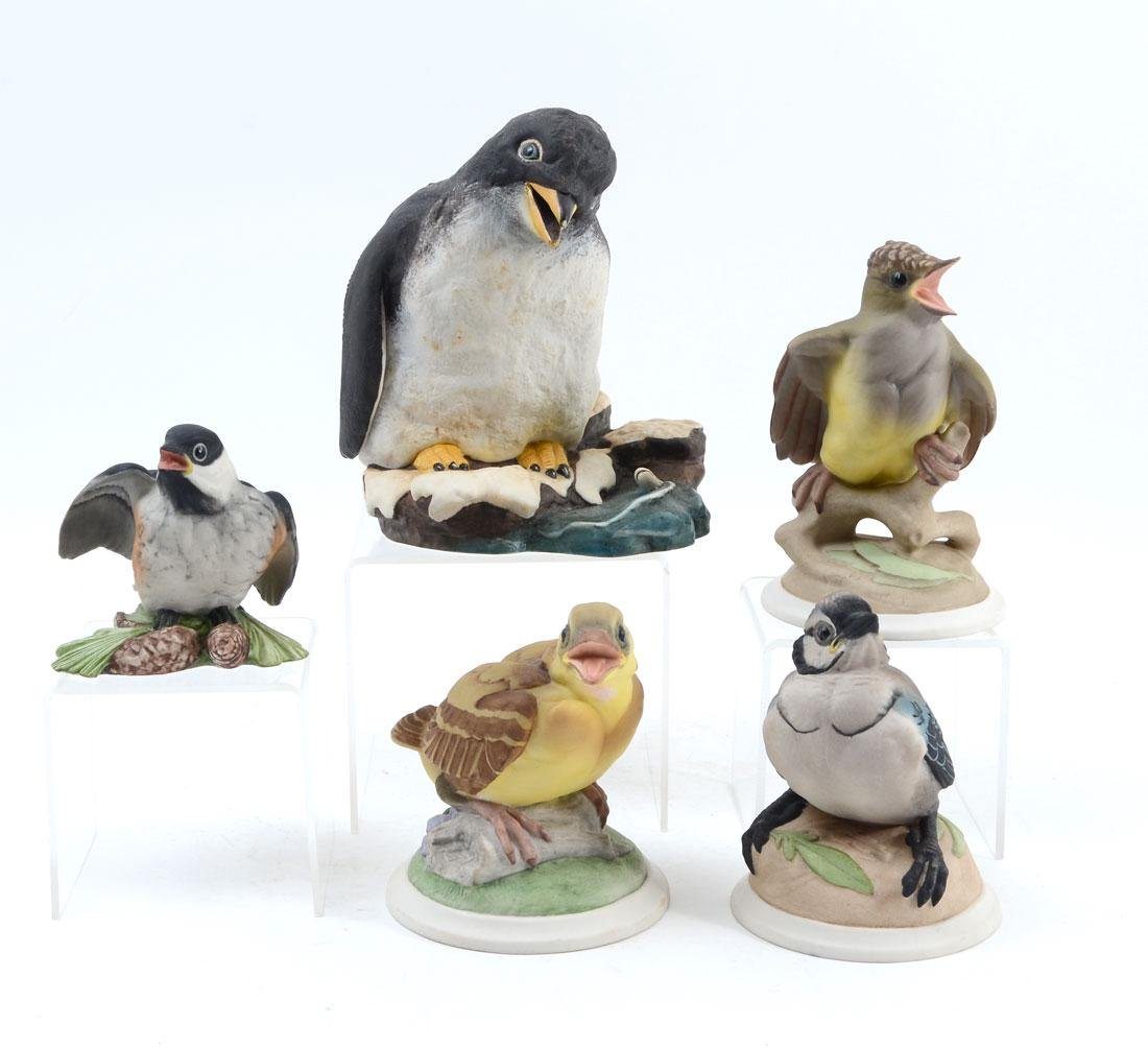 5 BOEHM PORCELAIN BABY BIRD FIGURINES