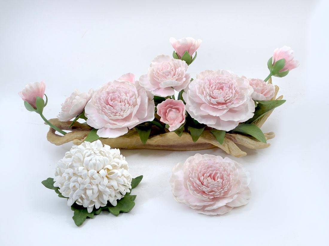 BOEHM PORCELAIN PINK PEONY & CHRYSANTHEMUM FLOWERS